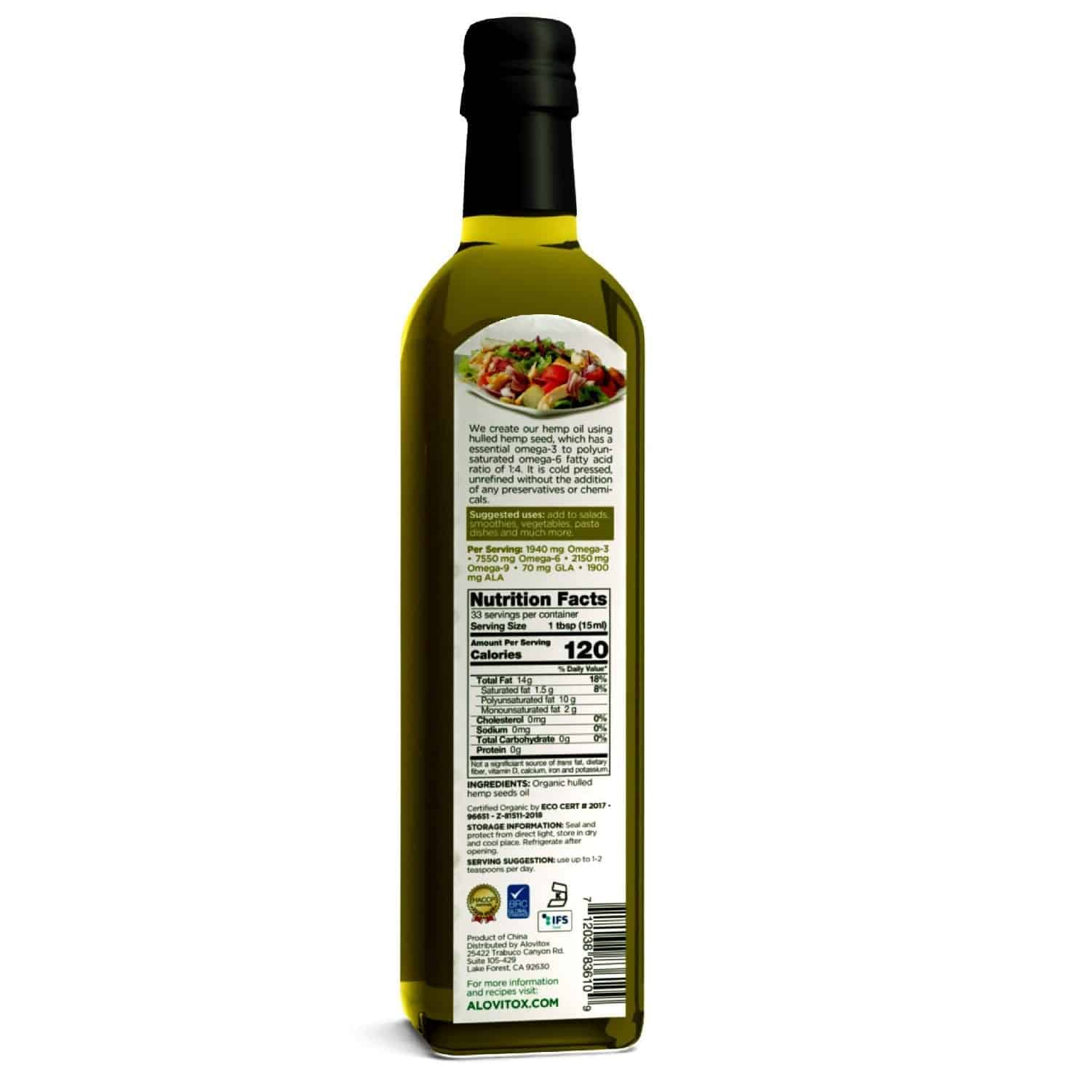 Organic Premium Hulled Hemp Seed Oil