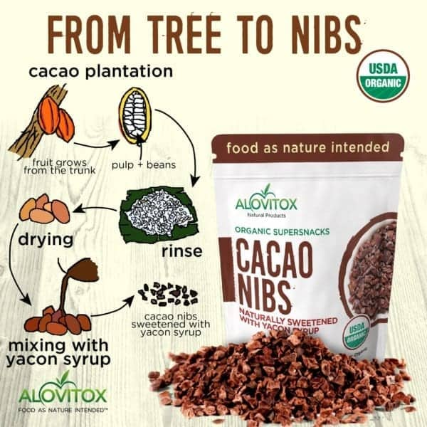 Organic Cacao Nibs Sweetened with Yacon Syrup